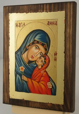 Saint Anna small Hand Painted Byzantine Orthodox Icon on Wood