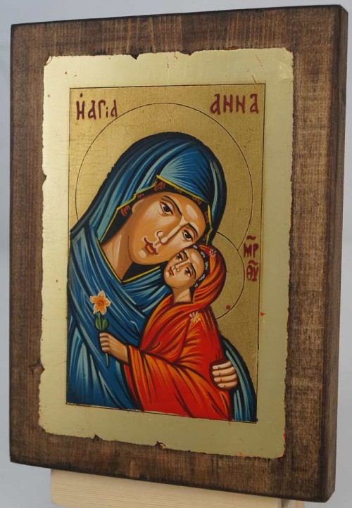 Saint Anna small Hand Painted Icon Byzantine Orthodox