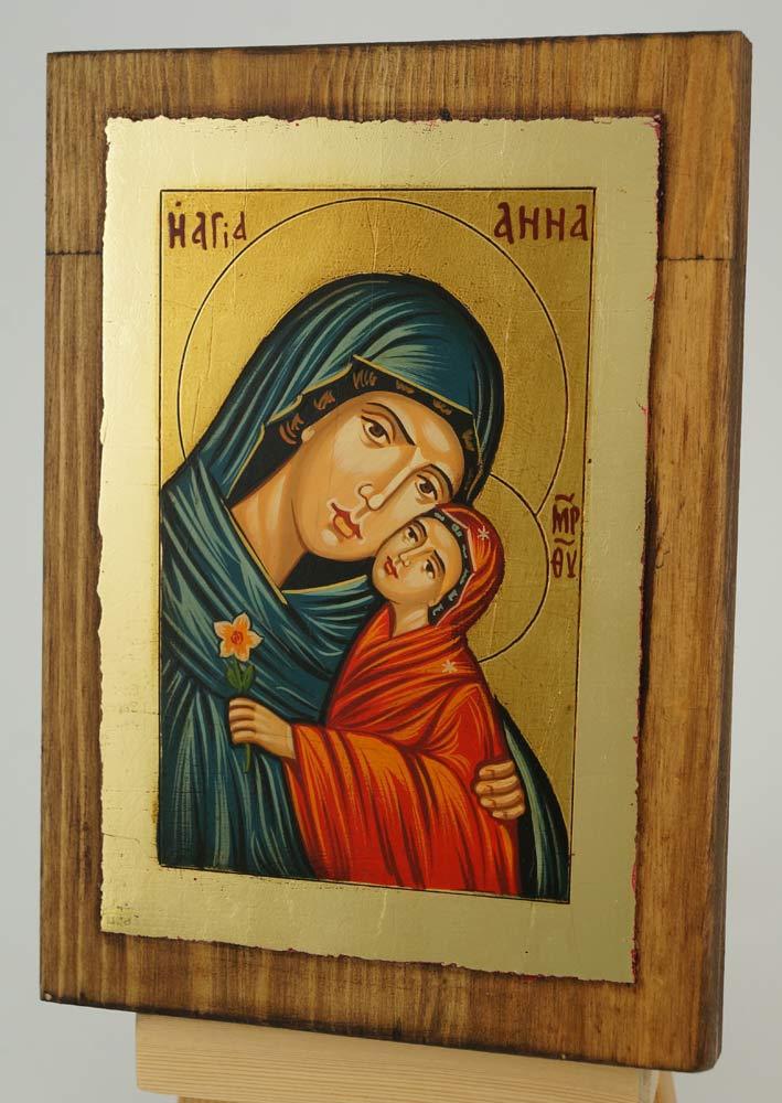 Saint Anna small Icon Hand Painted Byzantine Orthodox
