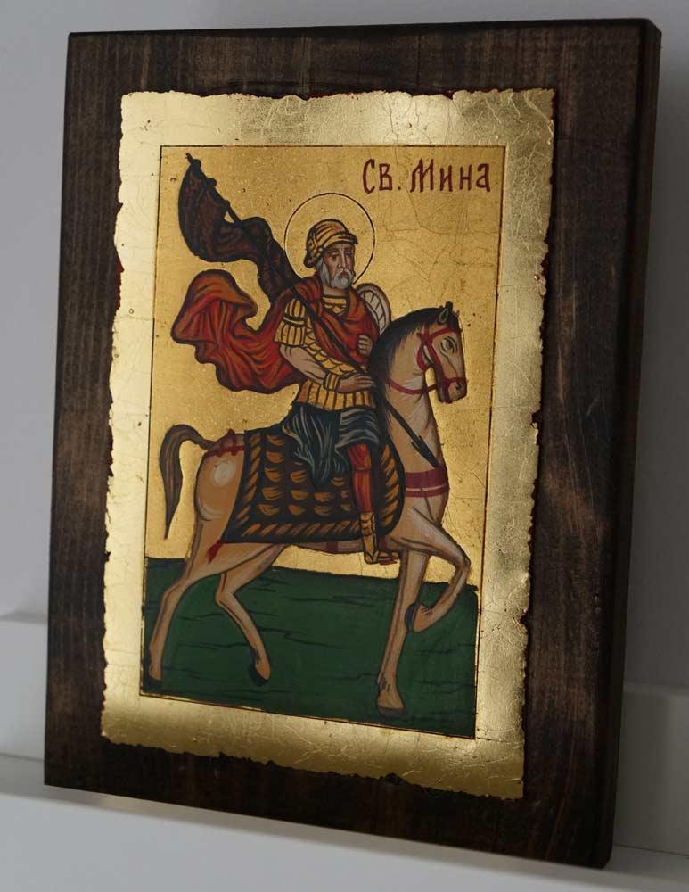 Saint Menas on Horse small Hand Painted Orthodox Icon on Wood