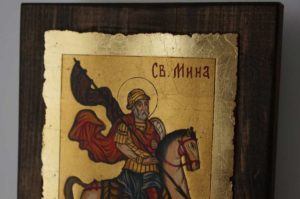 Saint Menas on Horse small Hand Painted Orthodox Icon on Wood