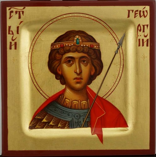 St George Diadem and Spear miniature Hand Painted Icon Byzantine Orthodox