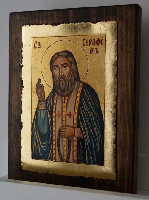 St Seraphim of Sarov small Hand Painted Orthodox Icon on Wood