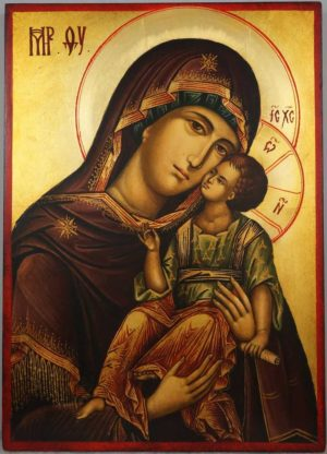 Hand-painted Orthodox Icon of Virgin Mary Tenderness