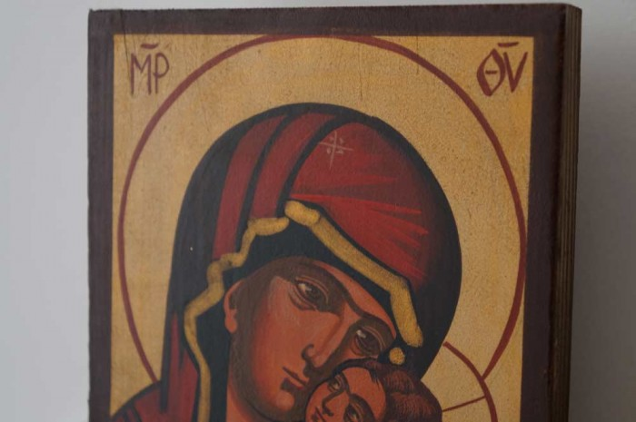 Theotokos Sweet Kissing (small) Hand-Painted Byzantine Icon