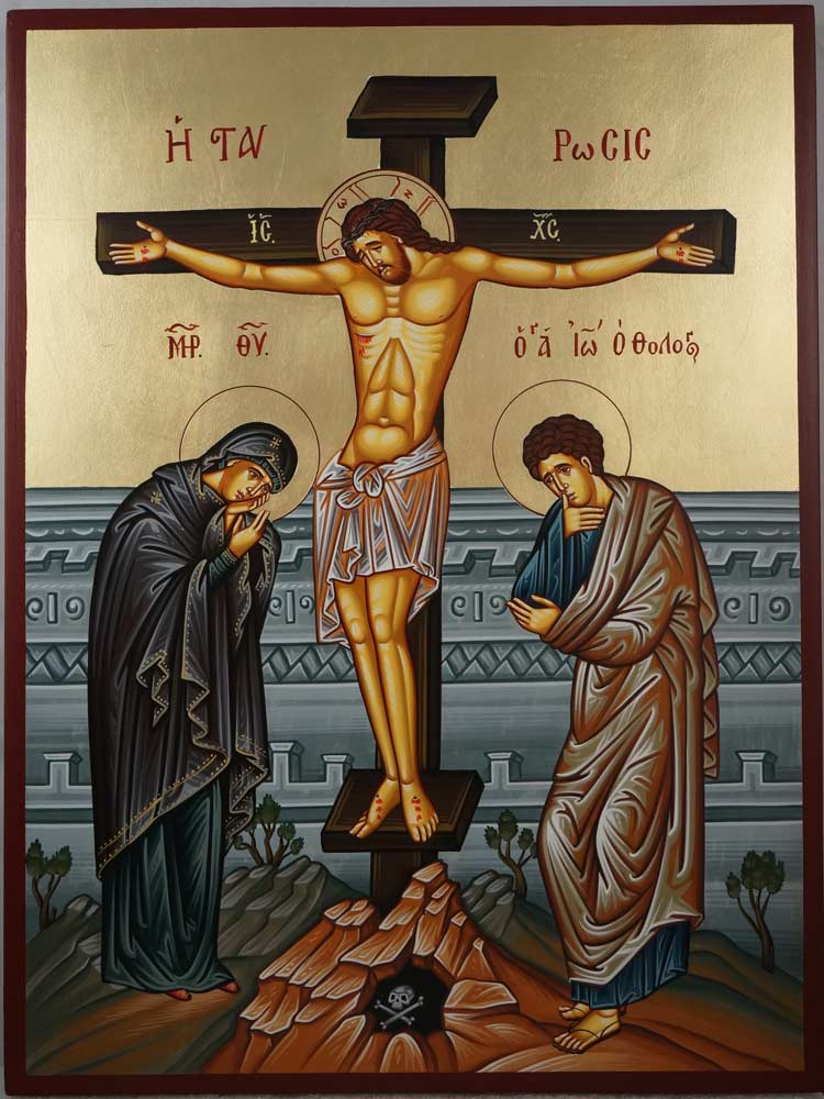 Hand-Painted Orthodox Icon of the Crucifixion of Christ