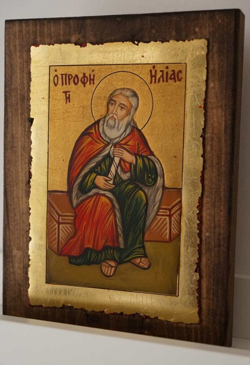 Holy Prophet Elijah small Hand Painted Orthodox Icon on Wood