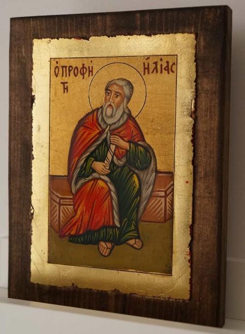 Holy Prophet Elijah small Hand Painted Orthodox Icon on Wood