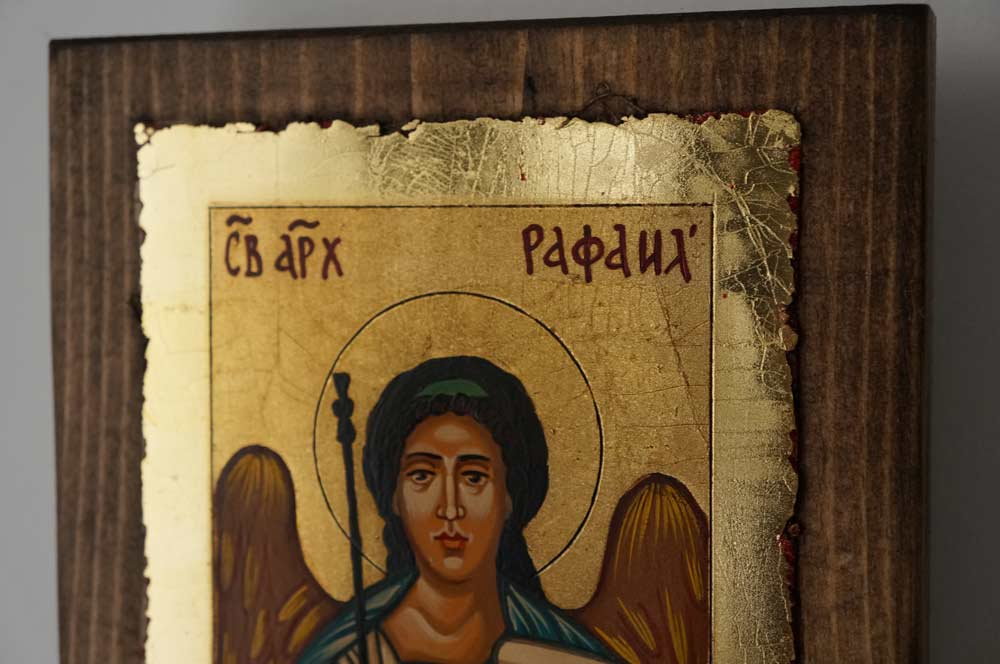 Saint Archangel Raphael small Hand Painted Orthodox Icon