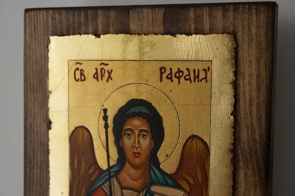 Saint Archangel Raphael small Hand Painted Orthodox Icon