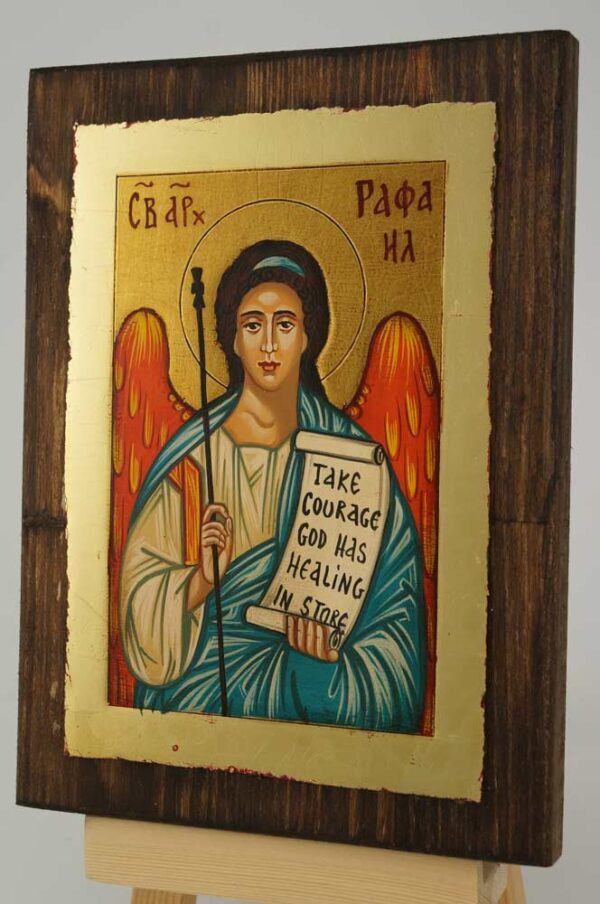 Saint Archangel Raphael small Icon Hand Painted Byzantine Orthodox