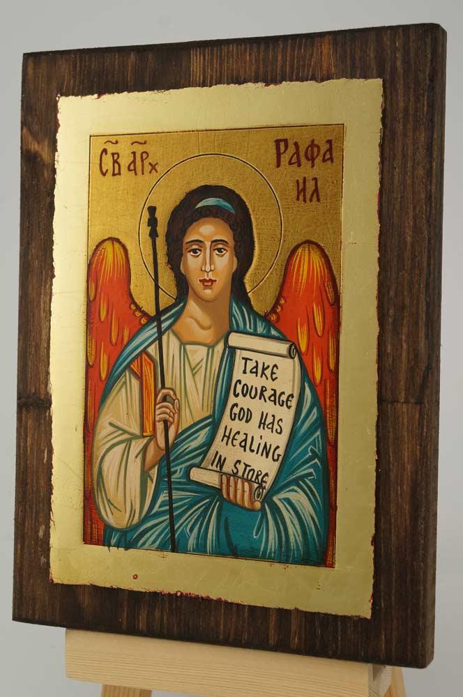 Saint Archangel Raphael small Icon Hand Painted Byzantine Orthodox