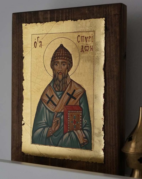 Hand-Painted Orthodox Icon of St Spyridon of Trimythous (small)
