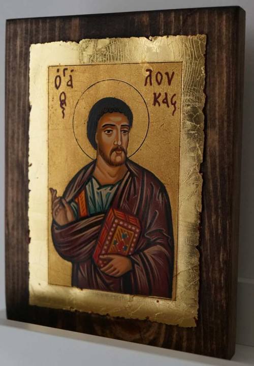 St Luke Apostle and Evangelist small Hand Painted Orthodox Icon on Wood
