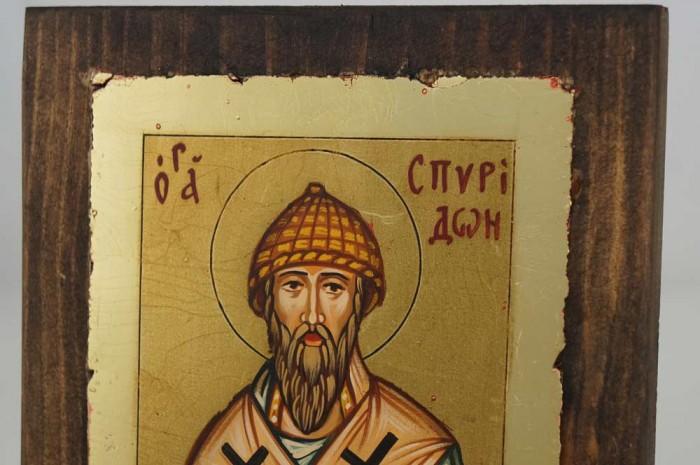 St Spyridon of Trimythous small Hand Painted Icon Byzantine Orthodox