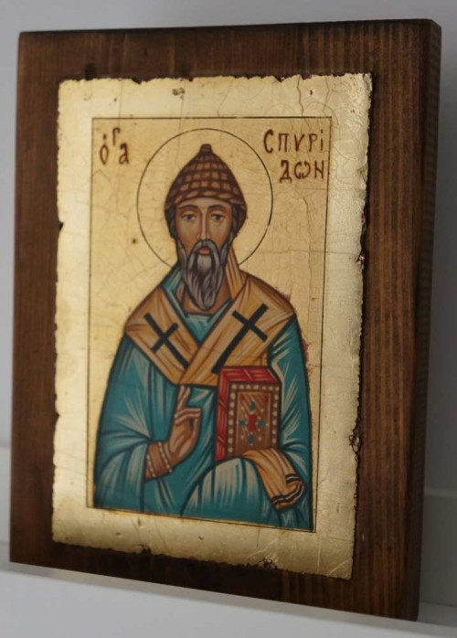 St Spyridon of Trimythous small Hand Painted Orthodox Icon