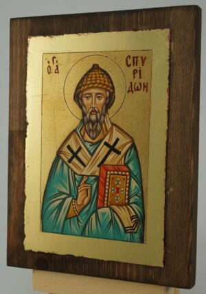 St Spyridon of Trimythous small Icon Hand Painted Byzantine Orthodox