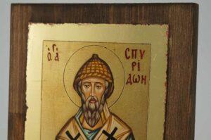 St Spyridon of Trimythous small Icon Hand Painted Byzantine Orthodox