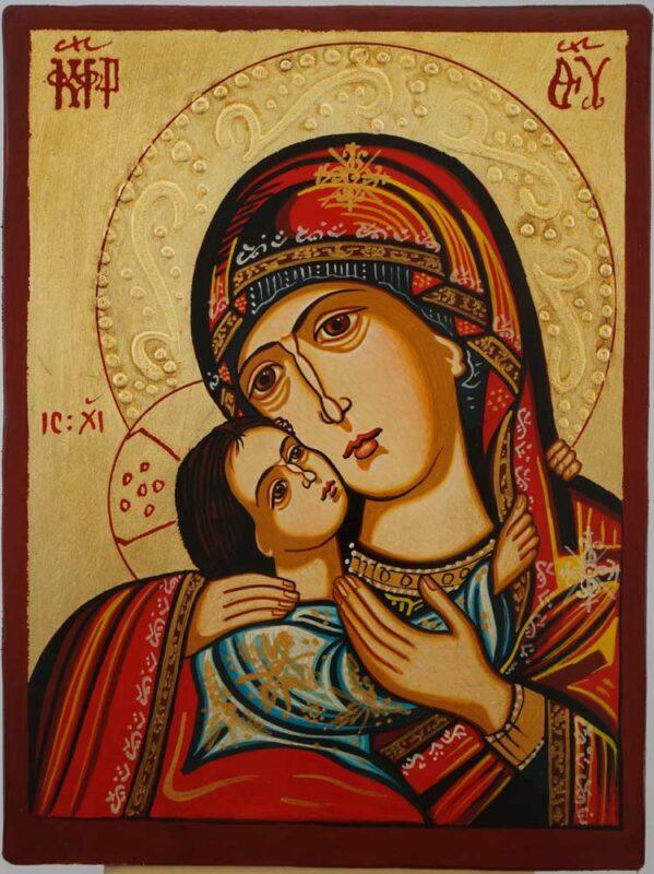 Virgin Mary Eleusa Rilska small Icon Hand Painted Byzantine Orthodox