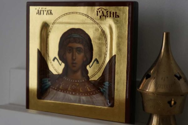 Hand-Painted Miniature Icon of Angel of God (miniature) Polished Gold leaf