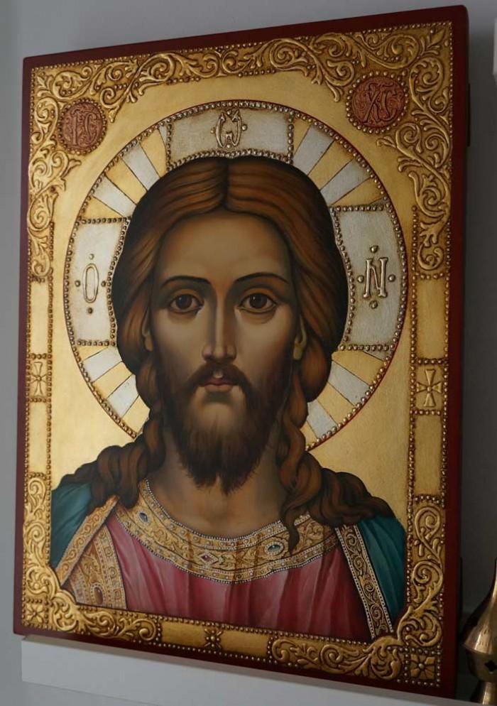 Hand-Painted Orthodox Icon of Jesus Christ Pantokrator (decorated frame)