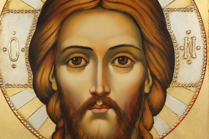 Hand-Painted Orthodox Icon of Jesus Christ Pantokrator (decorated frame)