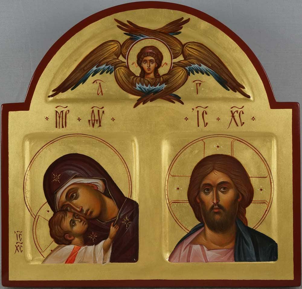 Hand-Painted Orthodox Icon of Theotokos Eleusa, Jesus Christ, Cherub