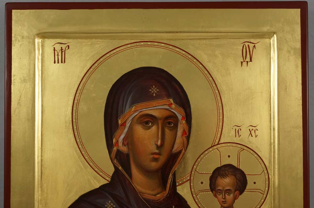 Hand-Painted Byzantine Icon of Mother of God Hodegetria (polished gold)
