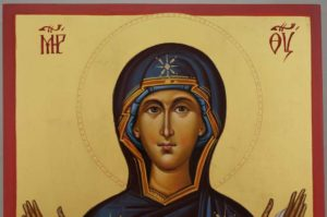 Protection of the Mother of God Pokrov Hand Painted Byzantine Orthodox Icon on Wood