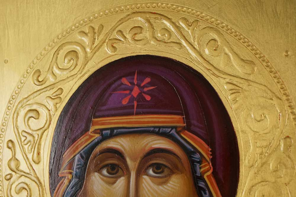 Hand-Painted Byzantine Icon Protection of the Mother of God (Pokrov)