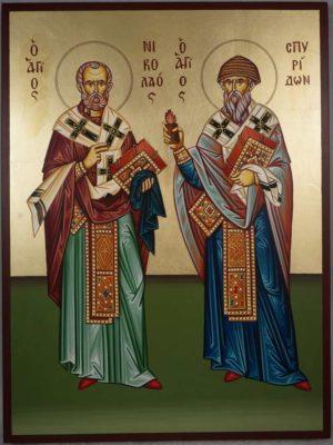 Hand-Painted Icon of St Spyridon of Trimythous and St Nicholas the Wonderworker