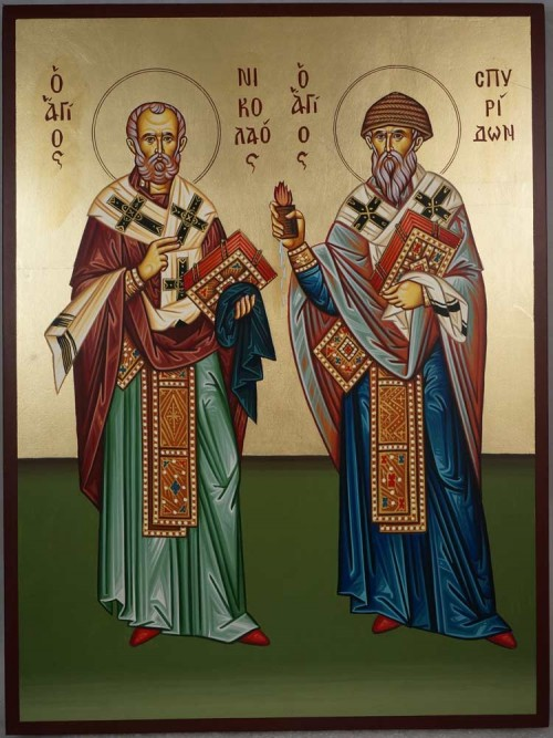 Hand-Painted Icon of St Spyridon of Trimythous and St Nicholas the Wonderworker