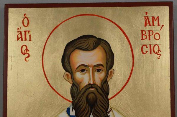 Saint St Ambrose of Milan Hand-Painted Orthodox Icon