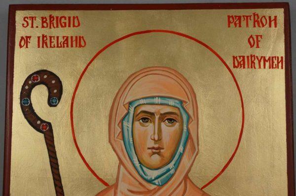 St Brigid of Ireland Patron of Dairymen Hand-Painted Orthodox Icon