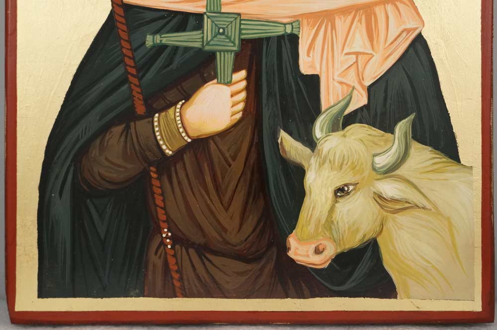 St Brigid of Ireland Patron of Dairymen Hand-Painted Orthodox Icon