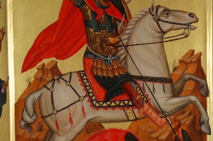 St George Slaying the Dragon (with saints) Hand-Painted Orthodox Icon
