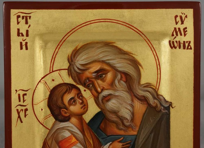 Hand-Painted Icon of Righteous St Simeon the God-Receiver (miniature)