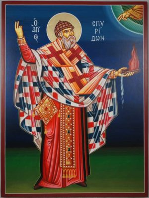 Hand-Painted Greek Icon of St Spyridon of Trimythous (full body)