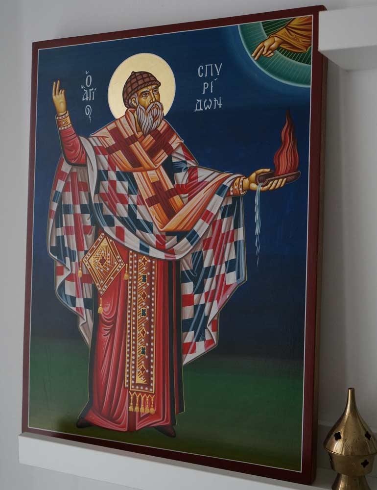 Hand-Painted Greek Icon of St Spyridon of Trimythous (full body)