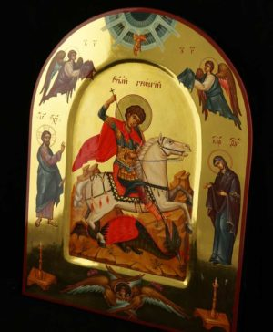 St George Slaying the Dragon with saints Hand Painted Orthodox Icon Polished Gold