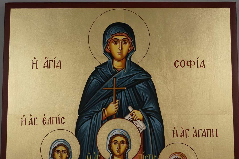Hand-Painted Greek Orthodox Icon of St Sophia the Martyr Faith, Hope and Love