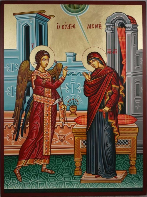 Hand-Painted Greek Orthodox Icon of The Annunciation of the Theotokos
