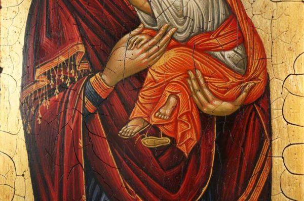The Virgin Glykophilousa (Crete) Hand-Painted Greek Orthodox Icon