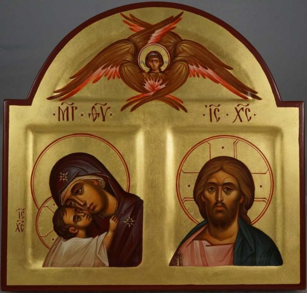 Theotokos Jesus Christ Cherub Hand Painted Arched Wood Orthodox Icon