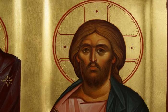 Theotokos Jesus Christ Cherub Hand Painted Arched Wood Orthodox Icon