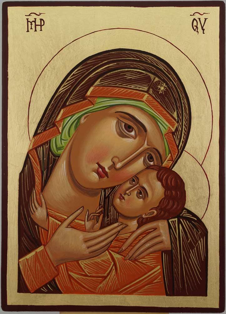 Theotokos Sweet Loving Icon Hand Painted Byzantine Orthodox