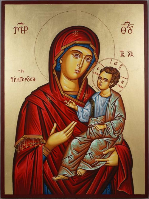 Hand-Painted Greek Orthodox Icon of Theotokos the Guide