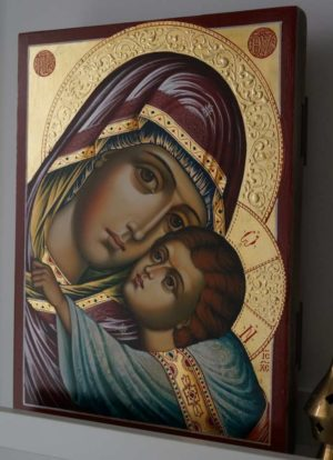Hand-Painted Orthodox Icon of Virgin of Tenderness (decorated halos)