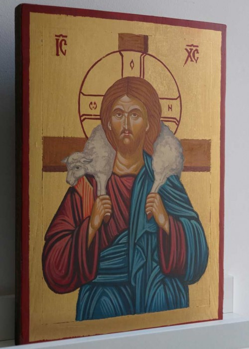 Christ the Good Shepherd Hand Painted Orthodox Icon on Wood