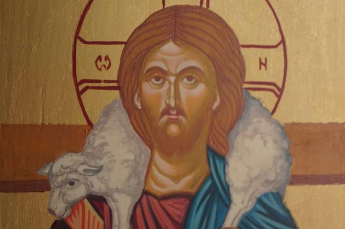 Christ the Good Shepherd Hand Painted Orthodox Icon on Wood